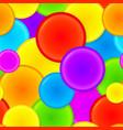 Vibrant rainbow plastic circles seamless pattern vector image