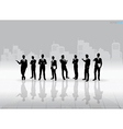 Businessman Silhouettes with building background vector image vector image