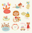 Congratulatory set with characters vector image vector image