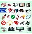 Visual Media Doodle vector image