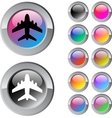 Aircraft multicolor round button vector image