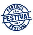 Festival blue round grunge stamp vector image