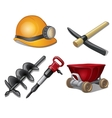 Five tools of miner on a white background vector image