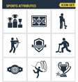 Icons set premium quality of sports attributes vector image