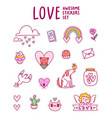 love awesome sticker set vector image