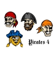 Cartoon pirates and captains vector image vector image