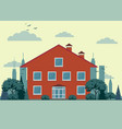 country cottage front of the house and garden vector image