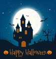 Dark house on blue full Moon Happy Halloween vector image