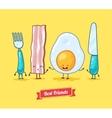 funny cartoon Funny egg bacon knife vector image