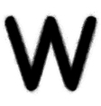 Sprayed W font graffiti in black over white vector image