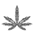 Zentangle stylized marijuana leaf Sketch for vector image
