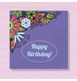 Birthday card with flowers in corner on wooden vector image