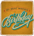 hand-lettered vintage birthday card vector image
