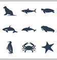 Maritime animals icon set vector image
