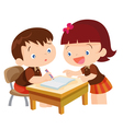 Cute girl teaching boy vector image