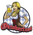 bavarian girl with a glass of beer vector image