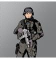 Military comics man vector image
