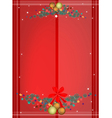 Red Background of Christmas Balls on Fir Twigs vector image