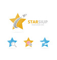 set of star logo combination leader and airplane vector image