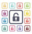 unlock flat icons set vector image