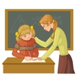 Teacher helps a girl in classroom vector image