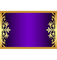 floral purple and gold frame vector image