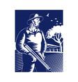 farmer hunter with shotgun rifle vector image
