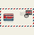 envelope with london doubledecker and flag of uk