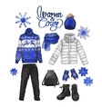 Watercolor winter clothes vector image