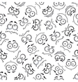 Seamless cartoon emoticon faces pattern vector image