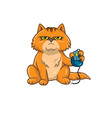 Cat Holding Computer Mouse vector image