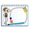 A notebook with an empty nametag vector image