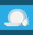 clean teacups and ceramic plate stacked vector image
