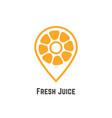 fresh juice with orange like map pin vector image