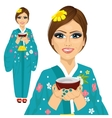 Japanese pretty woman holding cup of green tea vector image