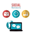 social network computer dialogue world vector image