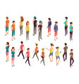 isometric 3d people young casual persons vector image