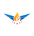 fire wing abstract star logo vector image