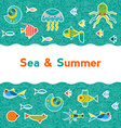background with sea creatures vector image