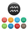 aquarius zodiac sign icons set simple vector image