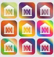 bank icon Nine buttons with bright gradients for vector image
