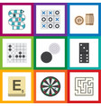 Flat icon play set of chequer arrow lottery and vector image