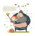 little girl making selfie with her father back to vector image