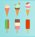 set of ice cream flat icon vector image