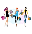 Tthree women with shopping bags vector image