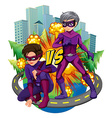 Two superheroes in the city vector image