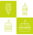 Set of vegan food icons Burger pizza sandwich vector image