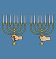 hand grab jewish candle stick vector image