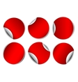 Set of red round promotional stickers vector image