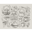 coffee and tea hand-drawn elements on the vector image